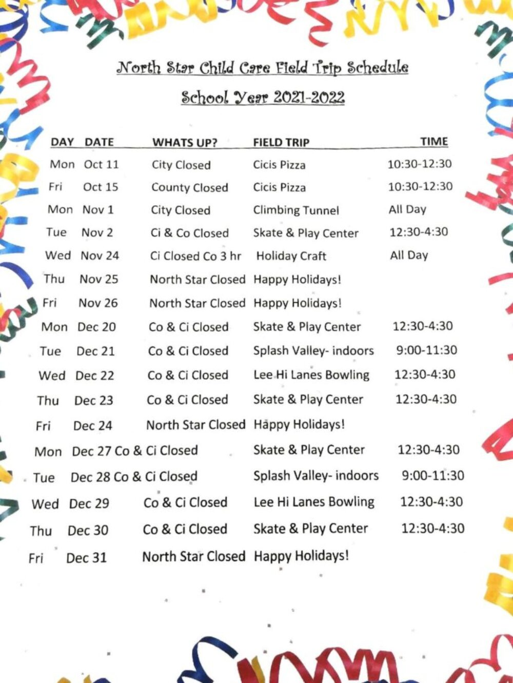 21 Holiday schedule